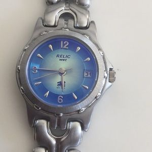 Relic water resistant blue/silver watch